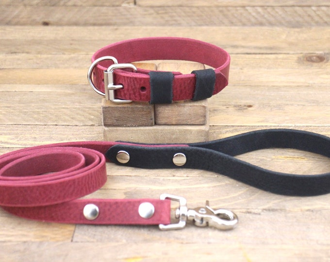 Leather collar, Collar and leash set, Burgundy, Raven, Dog lead, Silver hardware, FREE ID TAG, Handmade leash, Large collar.