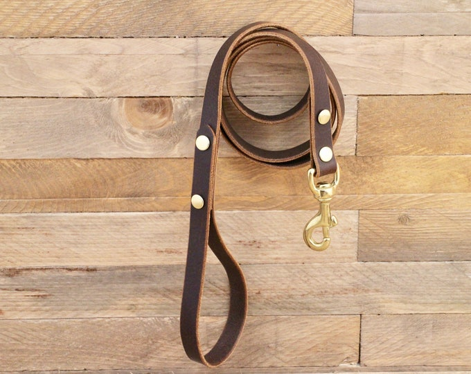 Dog leash, Leather leash, Handmade leash, Pet gift, Cocoa leather leash, Leash, Solid brass hardware, Strong leash, Leather lead