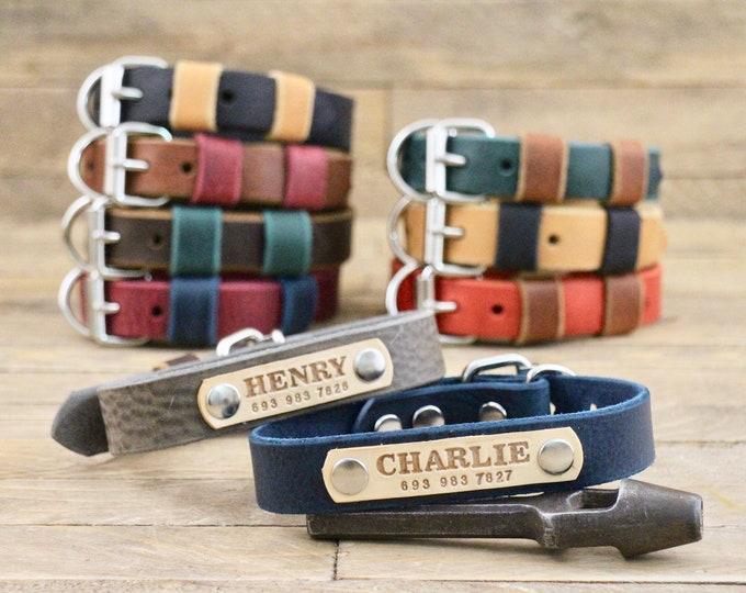 Collar, Leather dog collar, FREE ID TAG, Handmade collar, Silver hardware, Two tone collars, Dog accessories, Sturdy collar, Dog collar.