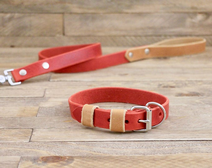 Dog collar, Leather leash, Collar and leash set, Silver hardware, Cayenne, Whiskey, FREE ID TAG, Handmade collar and leash.
