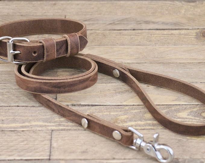 Collar leash, Set, Dog collar and leash, FREE ID TAG, Dark coffee, Silver hardware, Dog gift, Large size, Dog lead, Leather collar.