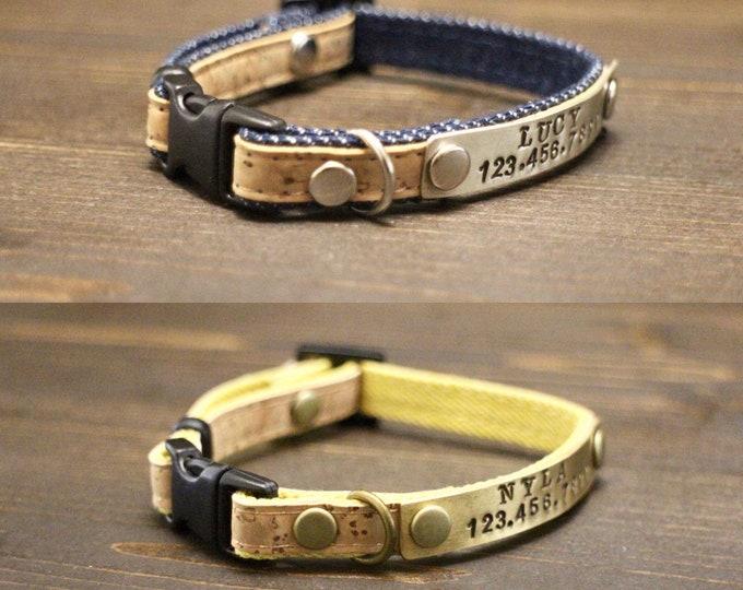Collar - Cat - Breakaway cat collar - Cat cork collar - Breakaway/Non breakaway collar- Personalised cat collar - Pet collar - Id tag