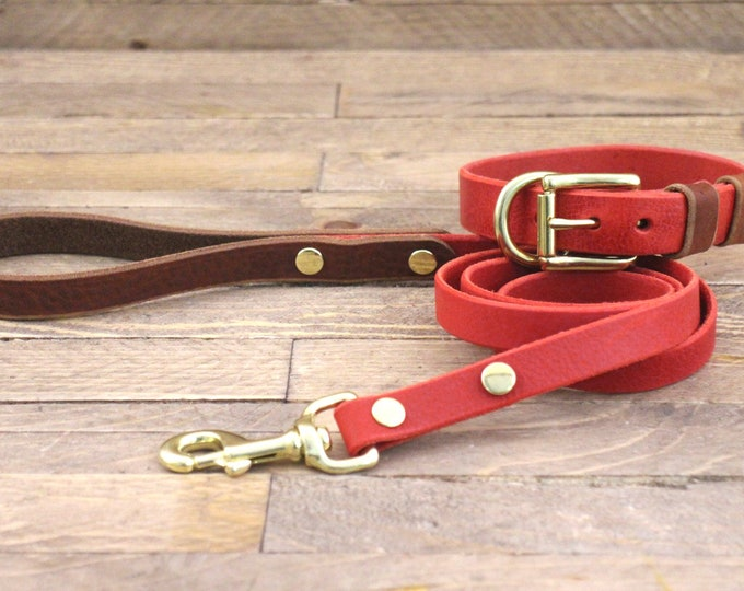 Set collar and leash, Personalised collar, Brass hardware, Dog leash, Cowboy brown, Leather leash and collar set, Cayenne collar, Pet gift.