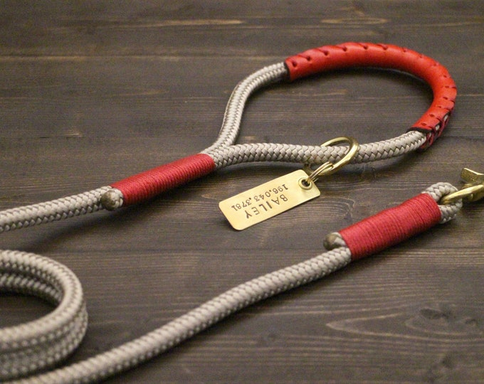 Dog leash, Dog lead, Grey leash, Rope and leather leash, Leather leash, 10ft leash, Leash for dog collar