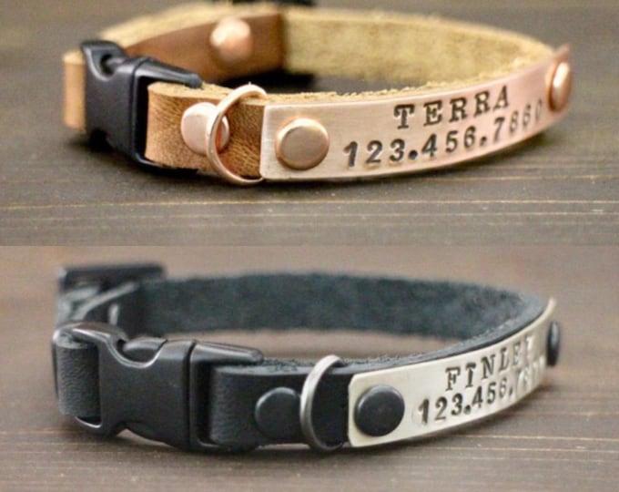 Cat collars - Cat leather collar -  Cat ID TAG - Cat breakaway collar - Pet collar -  Kitten collar breakaway clasp - Leather collar