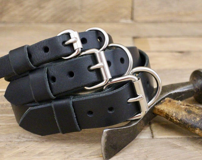 Dog collar, FREE ID TAG, Adjustable leather collar, Raven, Sturdy collar, Handmade collar, Classic collar, Black collar, Dog gift, Collar.