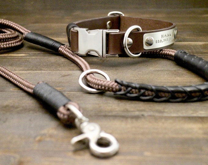 Dog rope leash, Dog leather collar, Brown leather collar, Brown rope leash, FREE personalisation, Quick release collar, Silver hardware