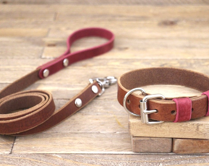 Leather collar, Leather leash, Personalised collar, Collar and leash set, Silver hardware, Cowboy brown, Burgundy, Handmade collar, Sturdy.