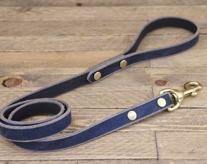 Lead, Brass hardware, Leather dog leash, Broken blue colour, Handmade leather leash, Dog gift, Puppy, Simple leash, Leash, Pet gift.