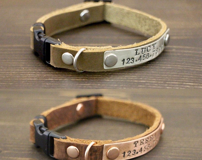 Leather cat collar - Cat collar -  Free ID - Breakaway/Non breakaway collar - Pet collar -  Kitten collar breakaway clasp - Leather collar