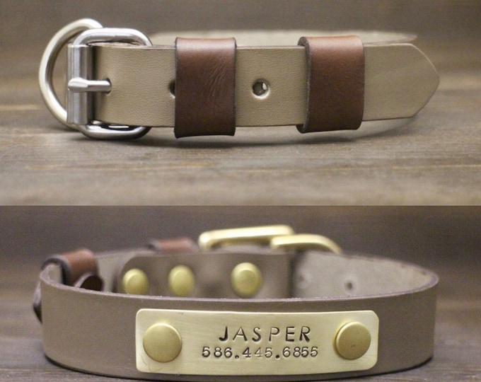 Dog collar, Leather dog collar, Brass-Silver hardware, FREE personalisation, Grey Sandy dog collar, Metal nameplate, Colourful collar