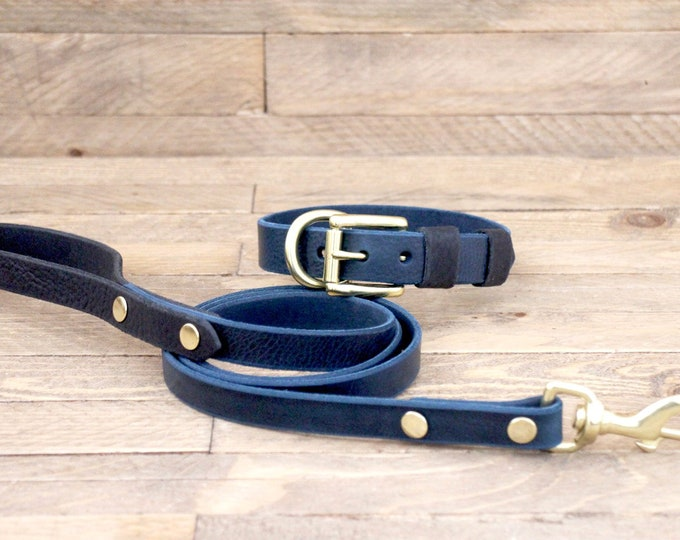 Collar and leash, Set, Deep ocean, Raven, Colour,  Handmade, Brass, FREE ID TAG, Dog gift, Leather leash, Leather collar.