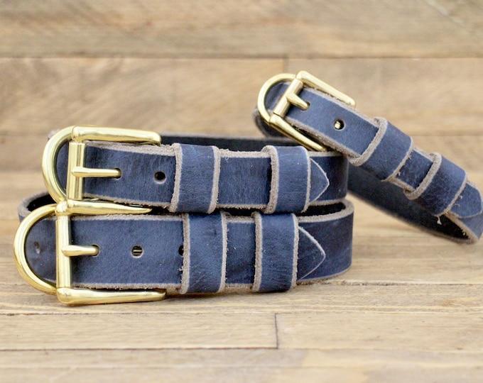Handmade collar, FREE ID TAG, Brass hardware, Broken blue, Leather collar, Large size, Dog collars, Collar, Pet supplies, Pet collar