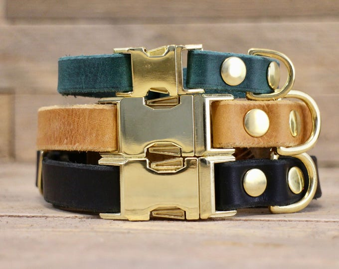 Clip collar, FREE ID TAG, Clasp leather collar, Small dog collar, Leather dog collar, Handmade dog collar, Side release buckle collar.