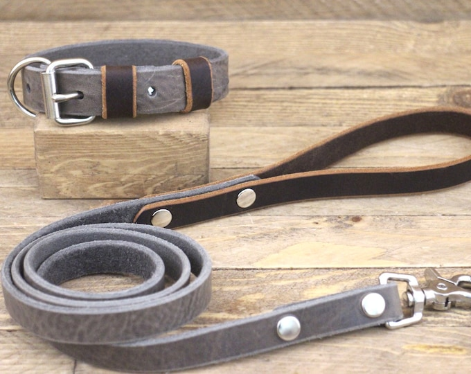 Dog collar, Leather leash, FREE ID TAG, Collar and leash set, Silver hardware, Wolf grey brown, Cocoa, Handmade collar and leash, Unique.