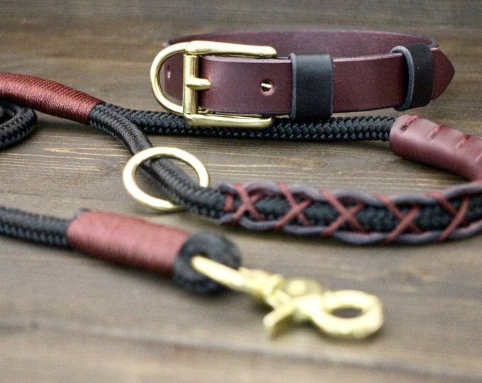 Dog collar bordeaux, Rope leash, Leather collar, PPM black leash, Set collar and leash, Brass hardware, 8ft leash, FREE personalisation