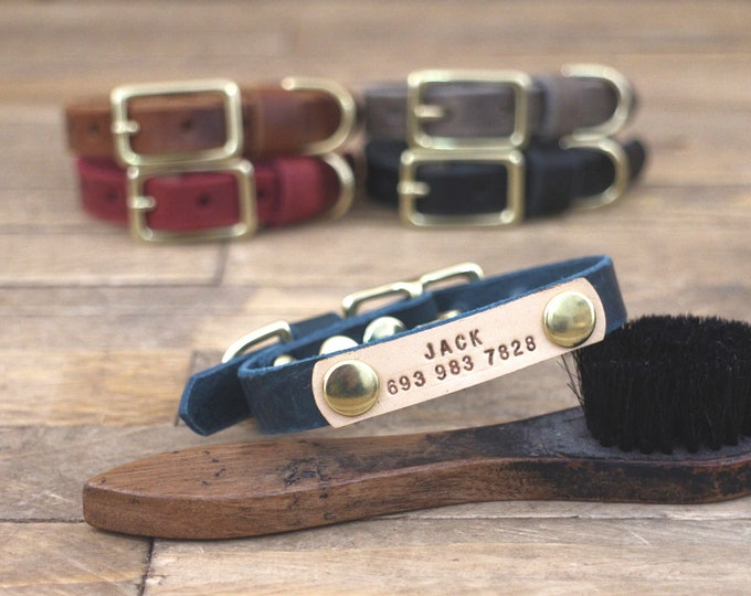 Small dog collar, Leather collar, 5/8'' collar, Personalised dog collar, Light hardware, Thin leather, Brass hardware, Small collar.