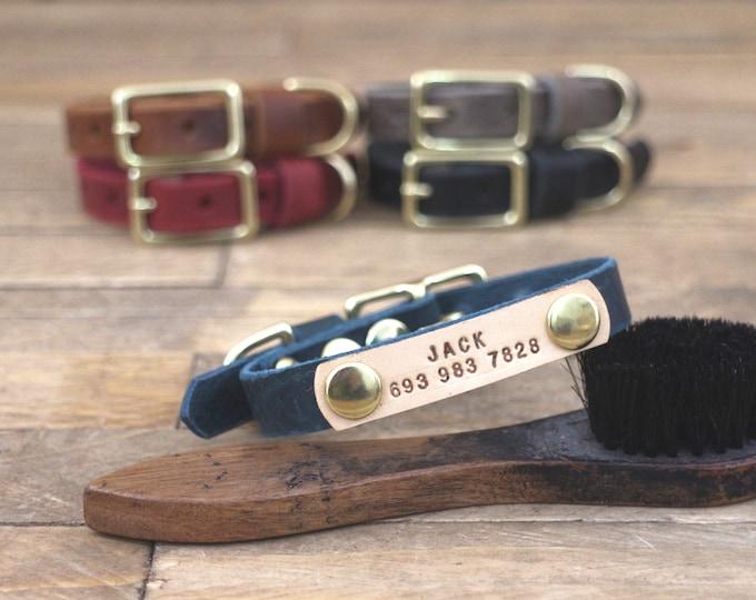 Small dog collar, Leather collar, 5/8'' collar, Personalised dog collar, Light hardware, Thin leather, Brass hardware, Small collar.