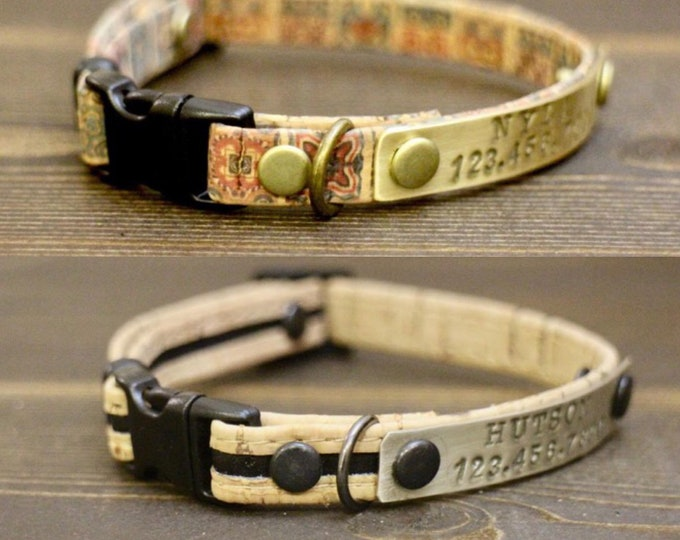 Breakaway cat collar - Cat cork collar -  Free ID Tag - Breakaway safety collar - Pet collar -  Kitten collar breakaway clasp