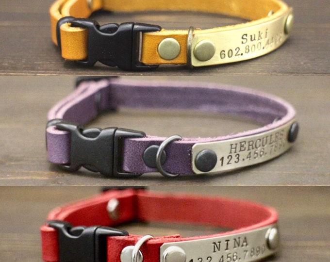 Cat collars - Leather cat collar - Id tag -Cat collar breakaway or non breakaway - Personalised cat collar - Kitten collar -  Leather collar