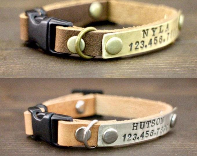 Kitten collar - Cat collar -  Free ID - Breakaway collar - Pet collar -  Kitten collar breakaway clasp - Leather collar