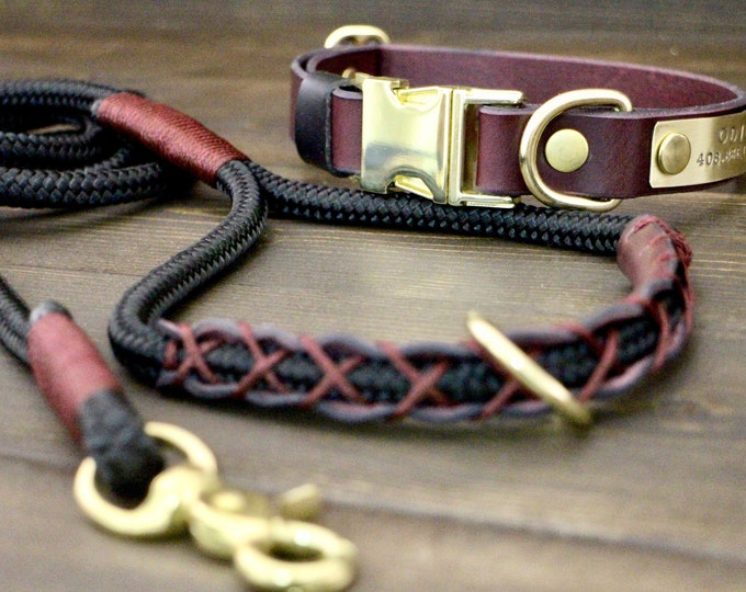 Dog leash, Dog leather collar, Bordeaux collar and leash set, FREE personalisation, Quick release collar, PPM rope leash, Brass hardware