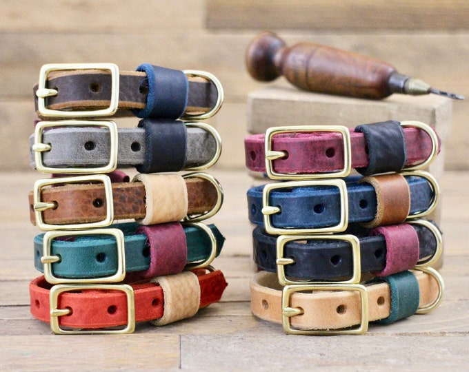 Dog collar, Small Dog collar, Leather dog collar, FREE personalisation, Puppy collar, Brass hardware, 5/8''' width, Two tone collars.