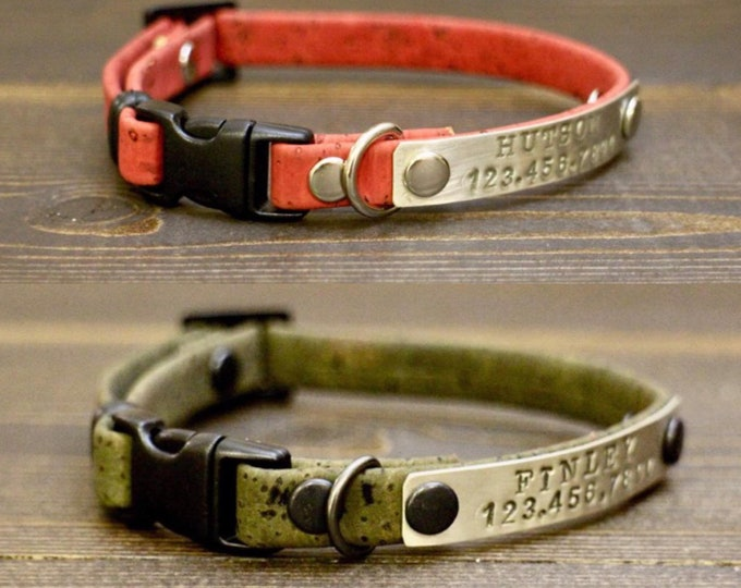 Cat collar - Red cat collar - Cork pet collar - Breakaway cat collar- Green cat collar - Free ID Tag - Kitten collar - Cats collars