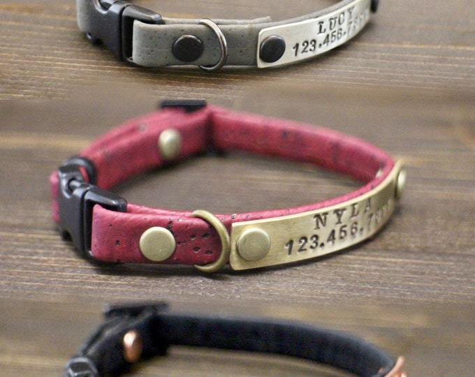 Cat collar - Cat cork collar - Cat collar breakaway or non breakaway - Personalised cat collar - Kitten collar -  Metal nameplate