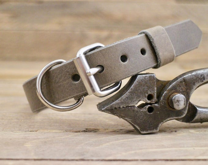 Dog collar, FREE ID TAG, Wolf grey brown ,Handmade leather collar, Personalised dog gift, Grey leather collar, Classic collar.