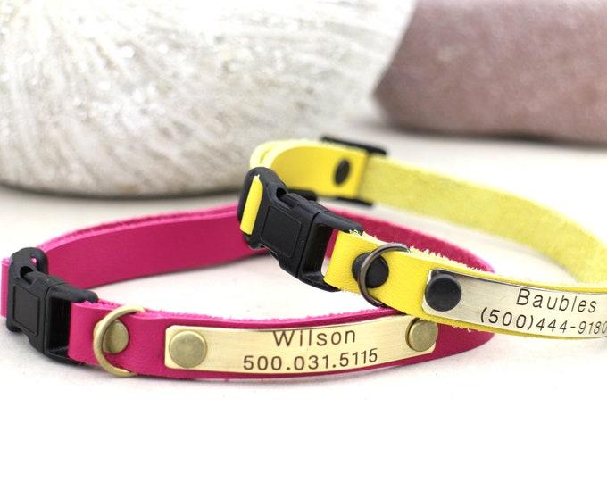 Cat collars - Leather cat collar - Personalised collar - Cat collar breakaway - Non breakaway - Kitten collar - Leather collar