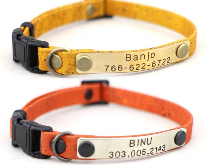 Cat collars - Breakaway cat collars - personalization cat collar - Soft cat collar - Metal nameplate - Lightweight cat collar - Cat gift