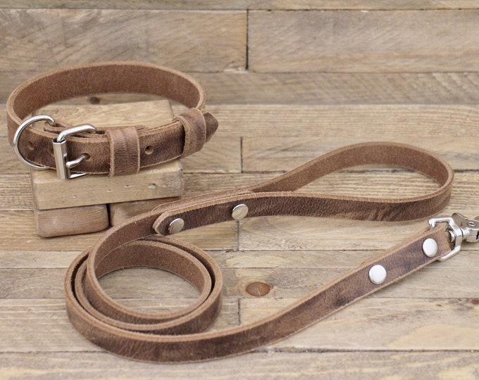 Collar and leash, set, Dog collar, Dog  leash, FREE ID TAG,  Crazy horse, Silver hardware, Puppy collar, Dog lead, Leather collar, Gift.