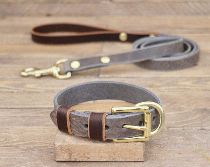 Collar and leash set, Wolf grey brown, Cocoa colour, Brass, FREE ID TAG, Handmade leather collar, Leather leash.