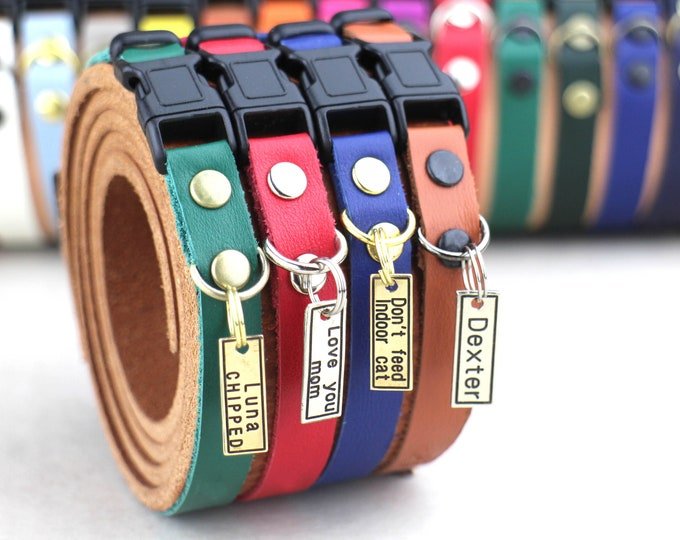 Cat collar - Personalized cat collar - Leather cat collar - Breakaway cat collar - Cat id tag - Soft leather collar - Safety collar