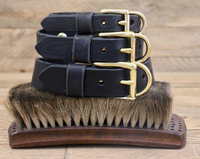Black Leather collar, FREE ID TAG, Dog collar, Raven, Custom leather collar, Solid brass , Handmade leather collar, Puppy, small dog.