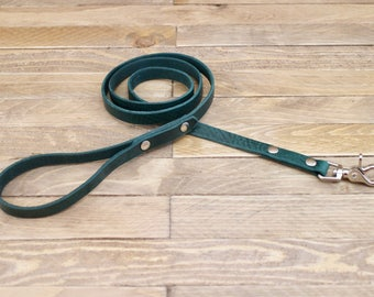 Leather leash, Green leash, Dog leash, Gift, Rustic leather leash, Leather lead, Lead, Strong leash, Dog gift, Forest leash