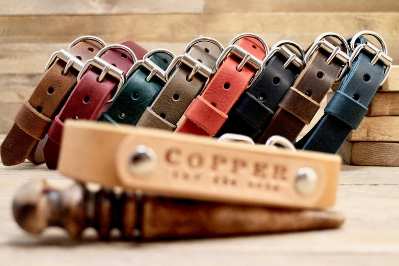 Leather dog collar FREE ID TAG Distressed leather collars image 0