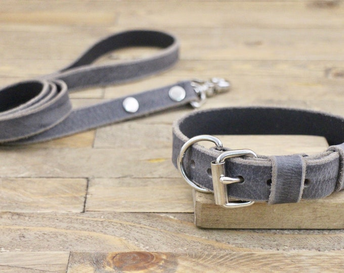 Collar and leash set, Dog collar and leash, FREE ID TAG, Grey stone, Silver hardware, Pet set, Large, Dog lead, Leather collar, Gift.