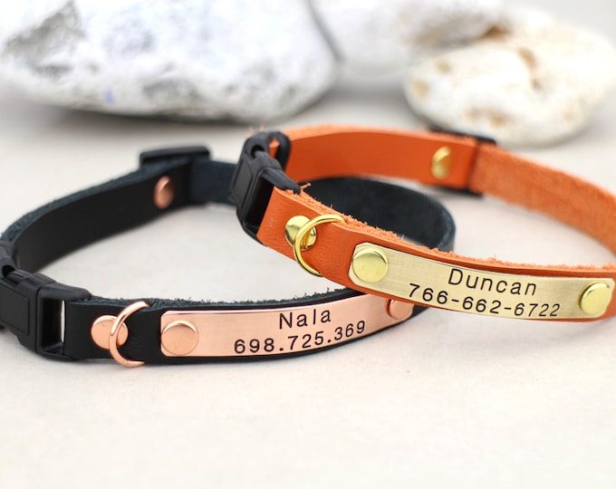 Leather cat collar - Kitten collar - Breakaway cat collar - Cat collar - Leather cat collar - Personalised cat collar - Cat id collar