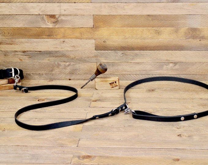 Handsfree dog leash, European leash, Raven leather dog leash, Leather Leash, Pet gift, Dog supplies, Sturdy leash, Long leash, Lead.