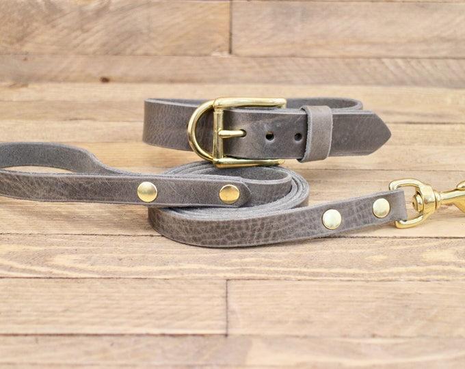 Dog collar, Dog leash, Set, Wolf grey brown, Brass hardware, FREE ID TAG, Collar and leash, Handmade leather collar, Leather leash, Collar.