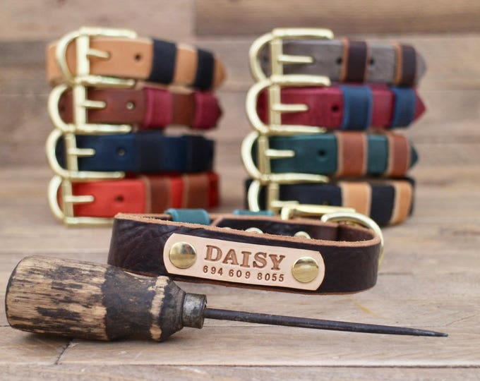 Leather dog collar, FREE ID TAG, Dog collar,  Handmade leather collar, Brass hardware, Pet supplies, Color collars, Dog leash, colour.