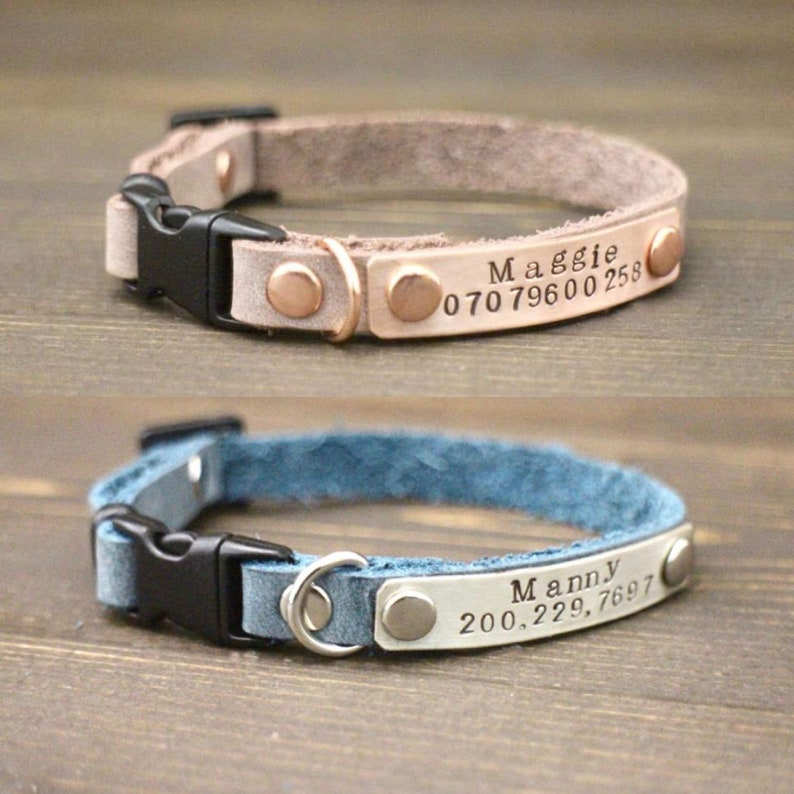 Personalised collar Cat id tag Cat collar Leather cat collar Leather cat collar Breakaway cat collar Cat accessories