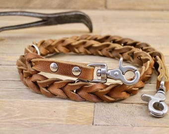 Dog leash, Braided leather leash, Leather dog leash, Pet gift, Matching leather leash, Dog walks, Brown leash, Dog lead, Pet gift.