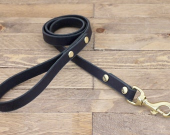 Dog leash, Leather lead, Charcoal black, Handmade leash, Brass hardware, Dog gift, Puppy, Strong leash, Leash, Pet gift.