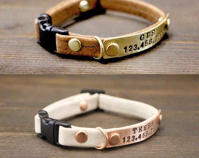 Cat collar - Cat cork collar - Breakaway/Non breakaway collar- Personalised cat collar -Free metal nameplate - Kitten collar