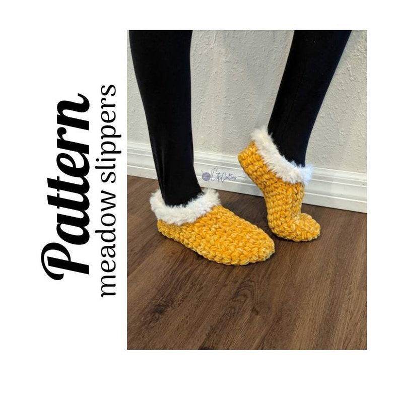 Crochet PatternMeadow Slippers PATTERN Only Crochet image 0