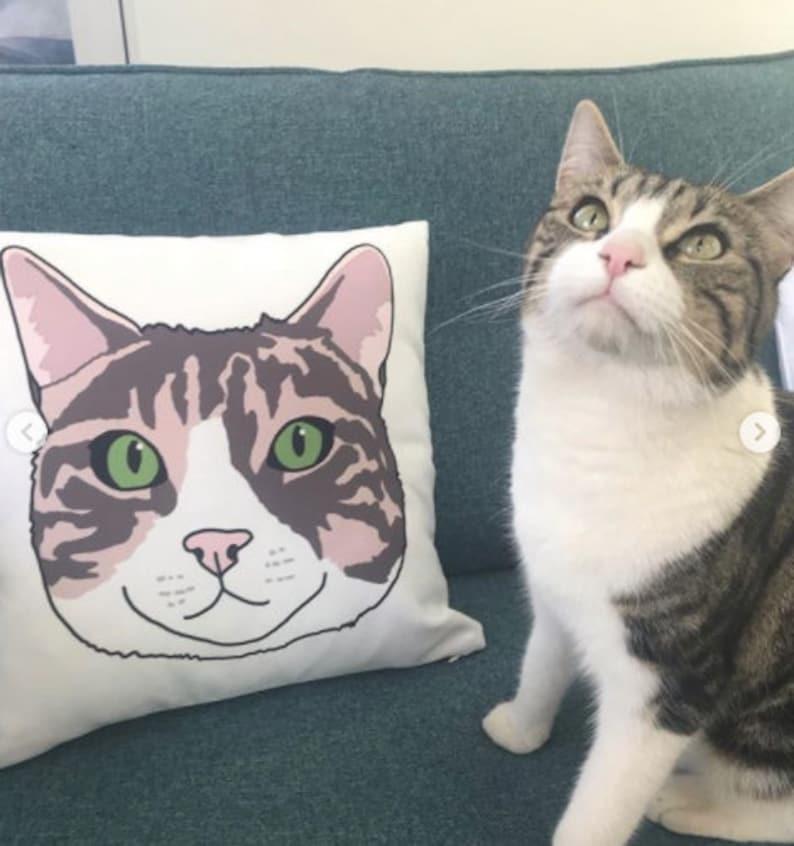 Custom Portrait Cushion Pillow Cat Dog Pet Personalised image 0