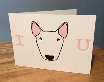 I love you english bull terrier dog cute romantic greetings card